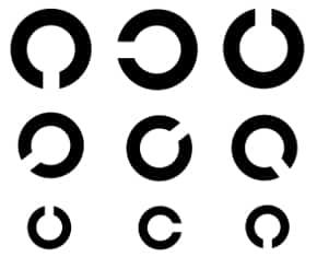 Der Sehtest für den Führerschein wird mithilfe dieser Ringe durchgeführt.