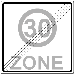 30er-Zone: Das Ende wird durch das Schild Nummer 274.2 angezeigt.