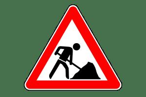 Geschwindigkeitsüberschreitung an der Baustelle: Das Gefahrenzeichen Nummer 123 fordert Sie auf, die Geschwindigkeit zu reduzieren.