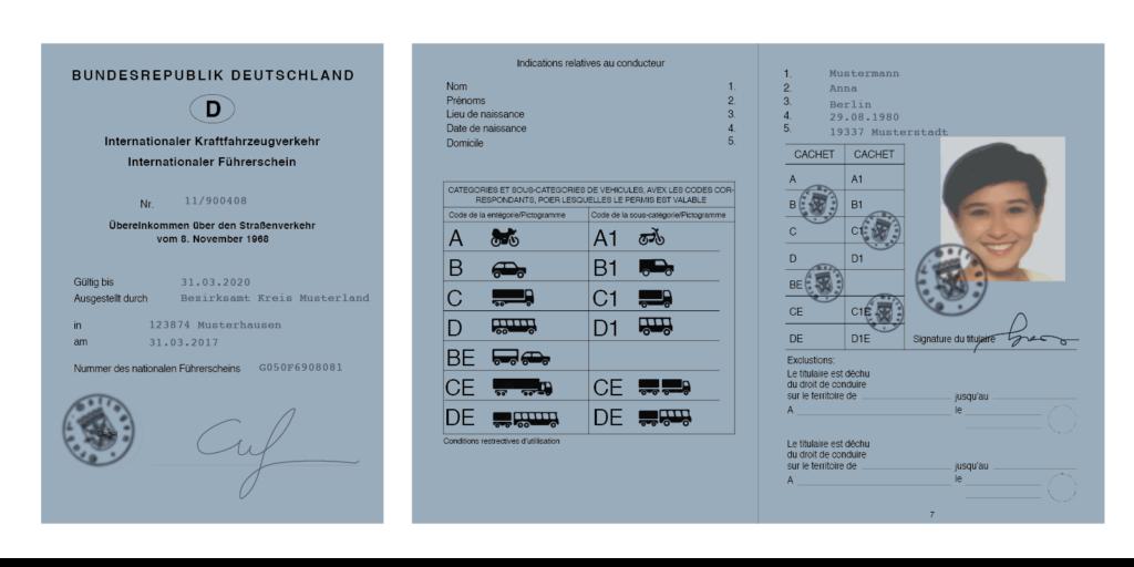 Internationaler Führerschein: Aus diesem Beispiel geht hervor, wie er aussieht.